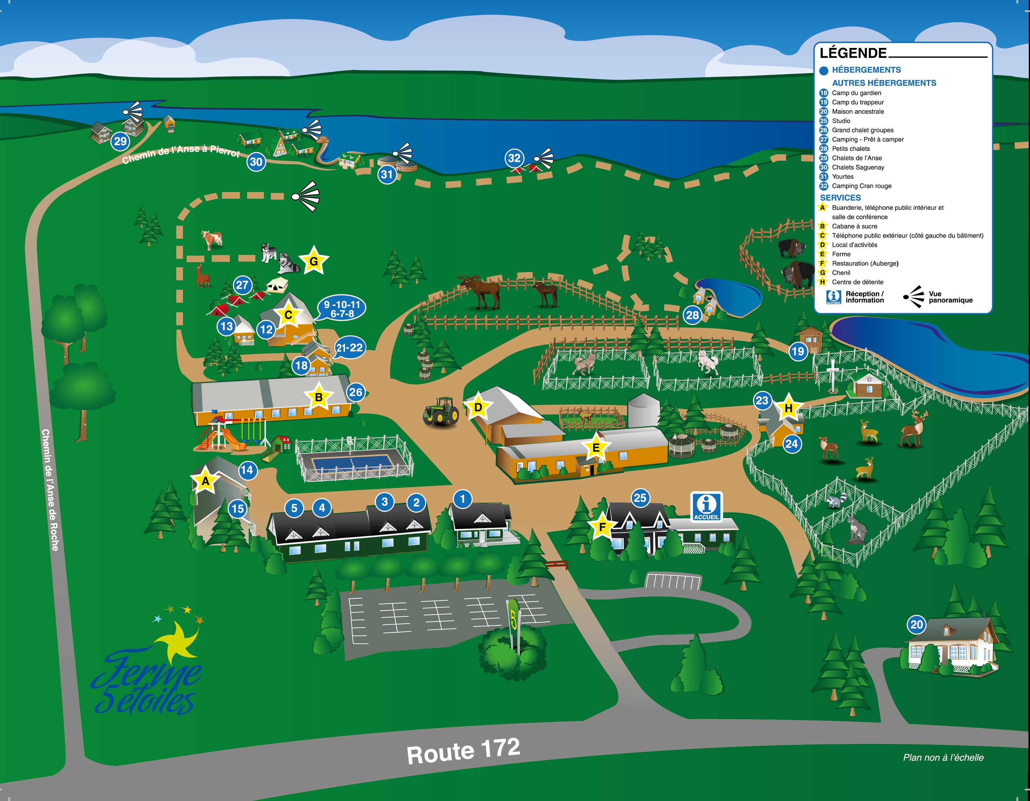 Carte du site principal en été